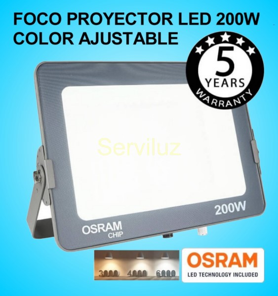 Foco Proyector LED 200W OSRAM IP65 Color Ajustable Exterior e Interior